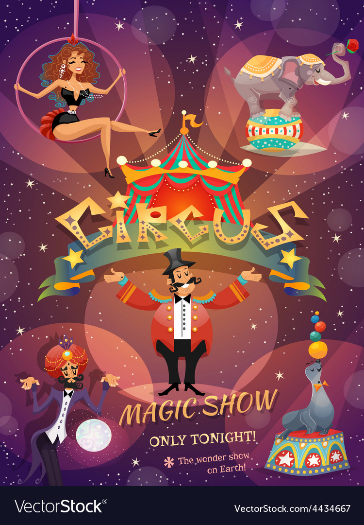 Circus show poster vector | Price: 3 Credit (USD $3)