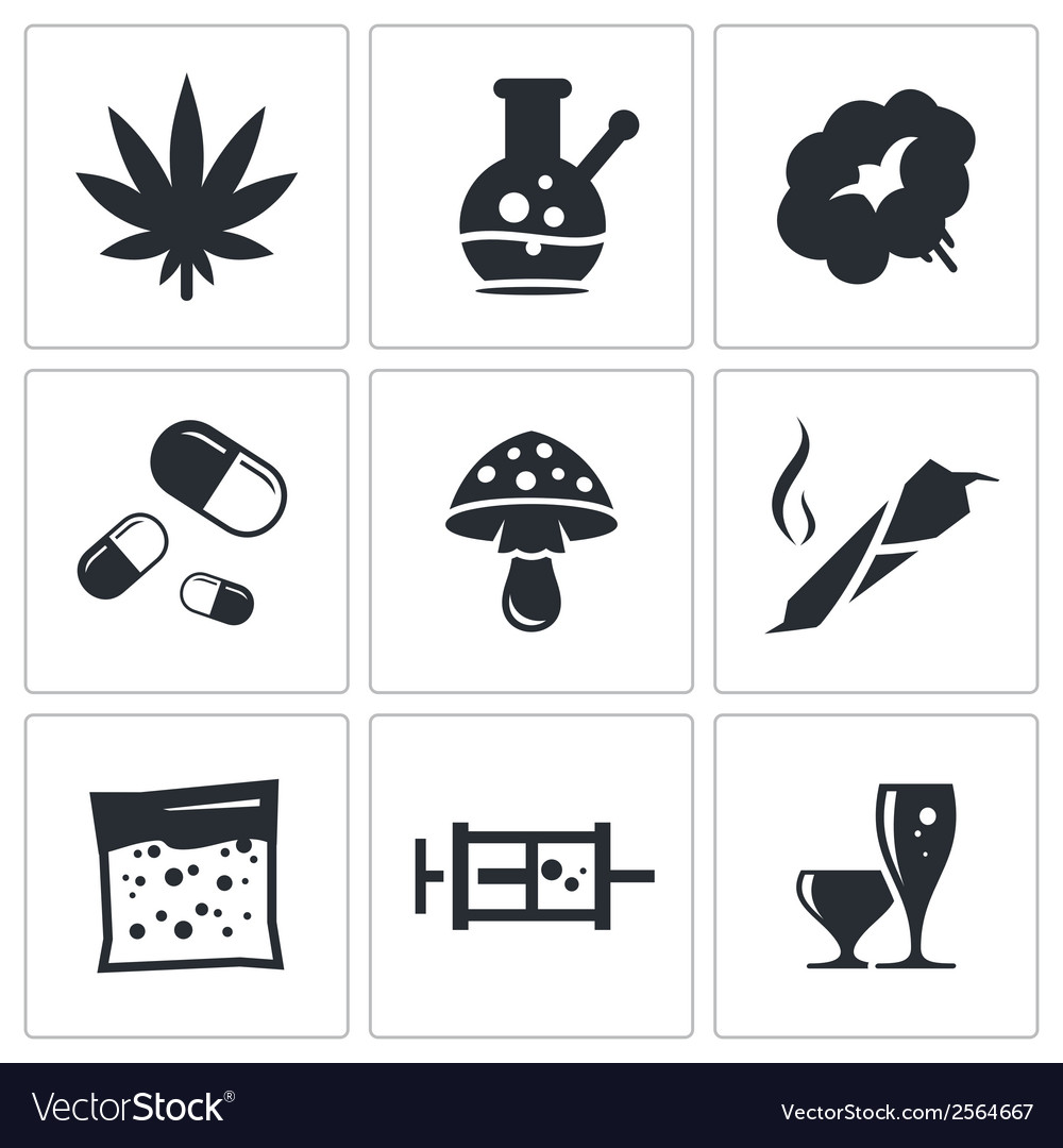 Drugs icon set vector | Price: 1 Credit (USD $1)