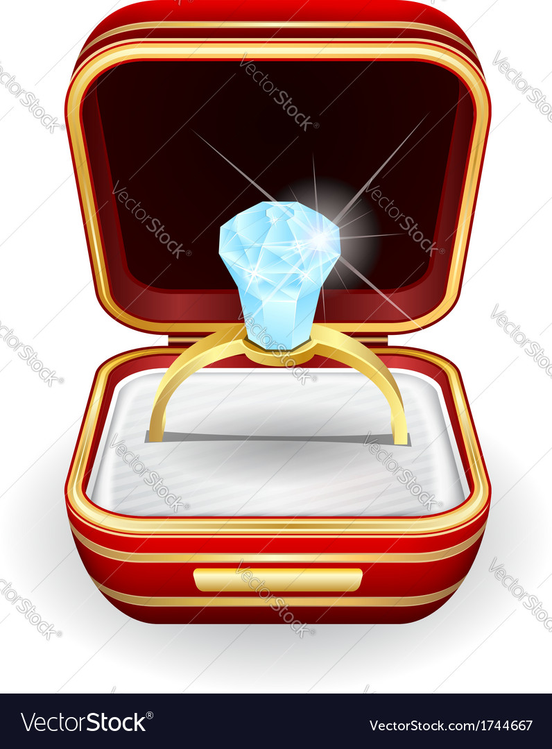 Engagement rings in gift box vector | Price: 1 Credit (USD $1)