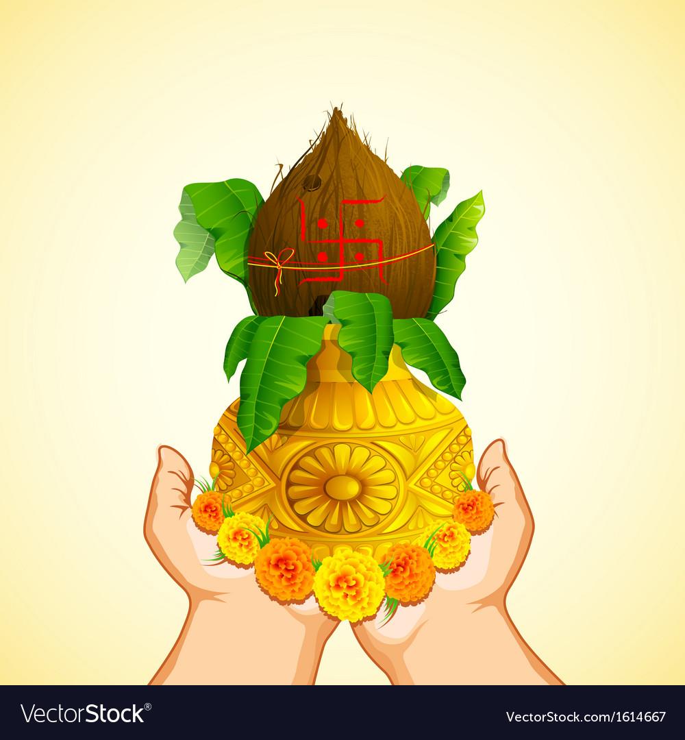 Hand holding mangal kalash vector | Price: 1 Credit (USD $1)