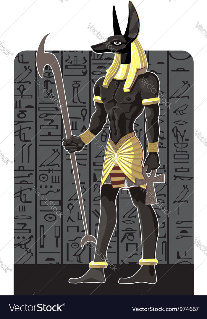 Mighty great dark anubis on dark egypt background vector | Price: 3 Credit (USD $3)