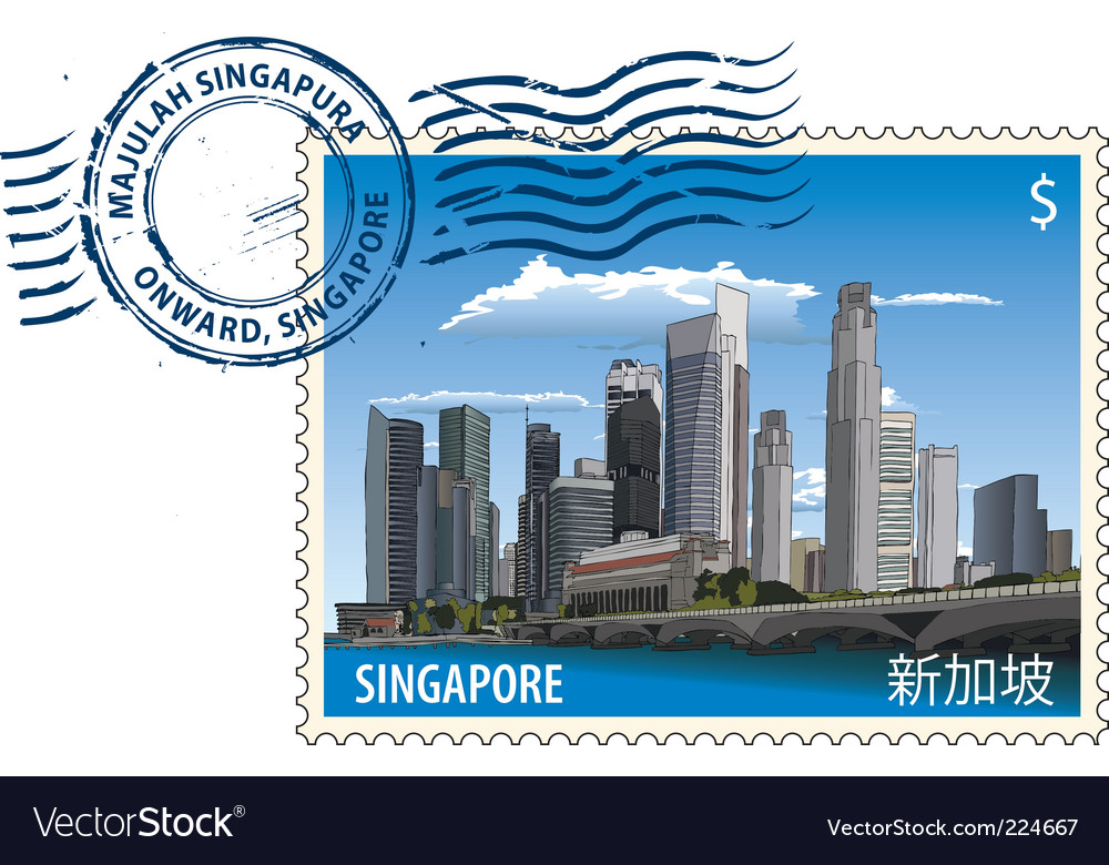 Postmark from singapore vector | Price: 1 Credit (USD $1)