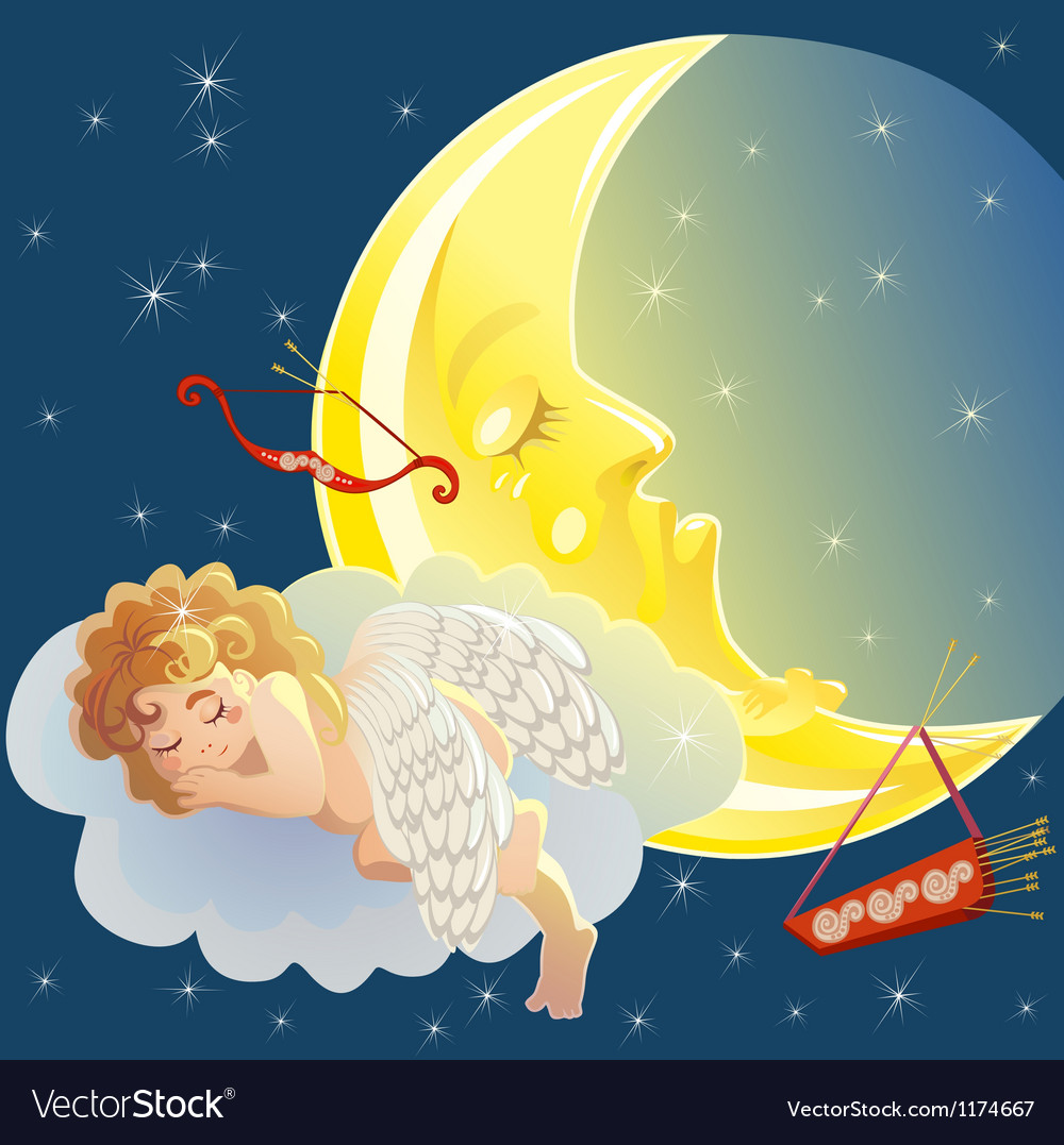 Sleeping cupid vector