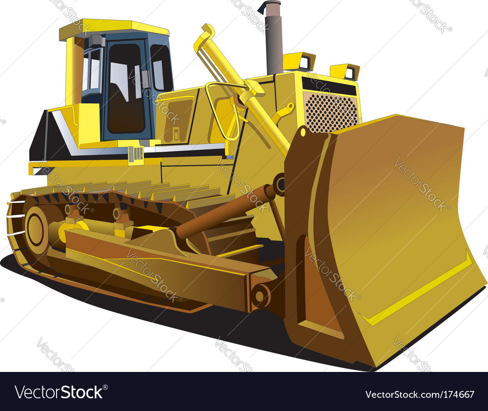 Yellow dozer vector | Price: 3 Credit (USD $3)