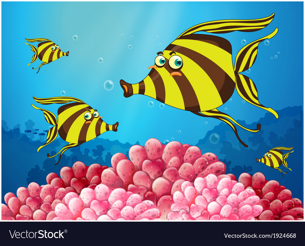 A group of stripe-colored fishes under the sea vector | Price: 3 Credit (USD $3)