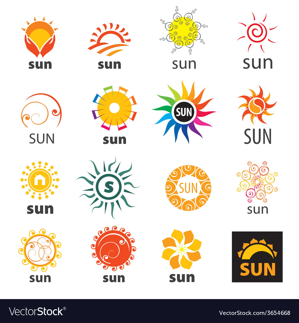 Big set of logos sun vector | Price: 1 Credit (USD $1)