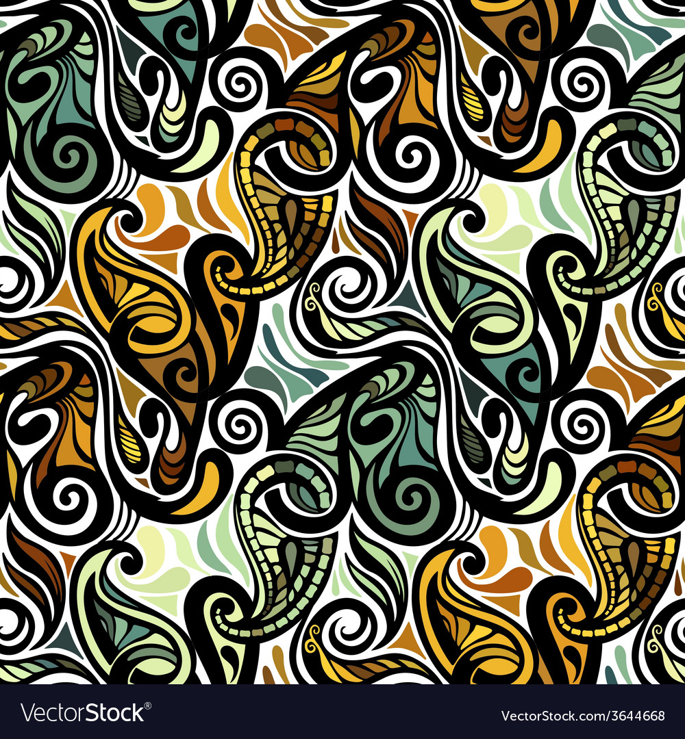 Colorful abstract seamless paisley pattern vector   Price: 1 Credit (USD $1)