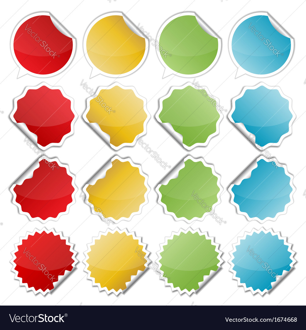 Colorful bended stickers vector | Price: 1 Credit (USD $1)