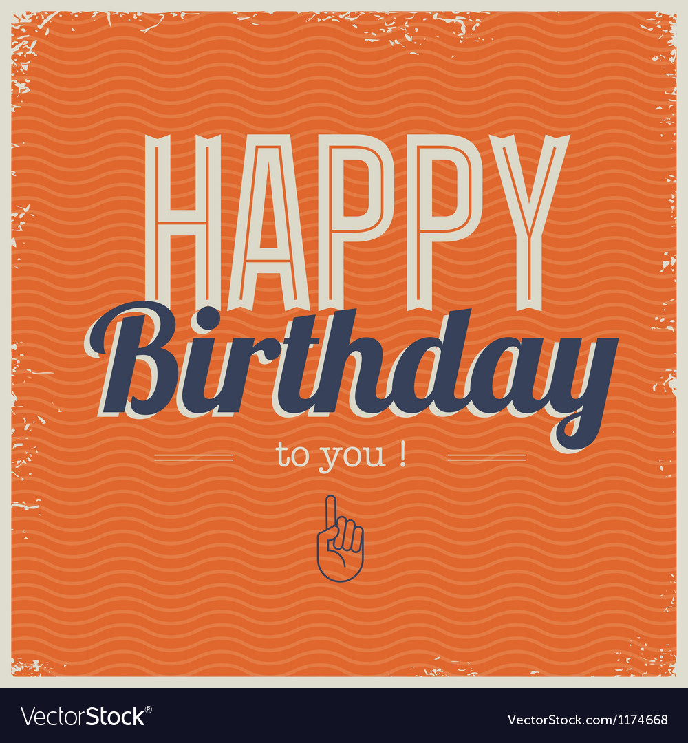 Happy birthday card with retro typography vector | Price: 1 Credit (USD $1)