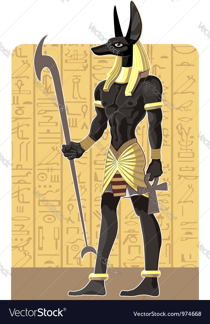 Mighty great dark anubis on egypt background vector | Price: 3 Credit (USD $3)