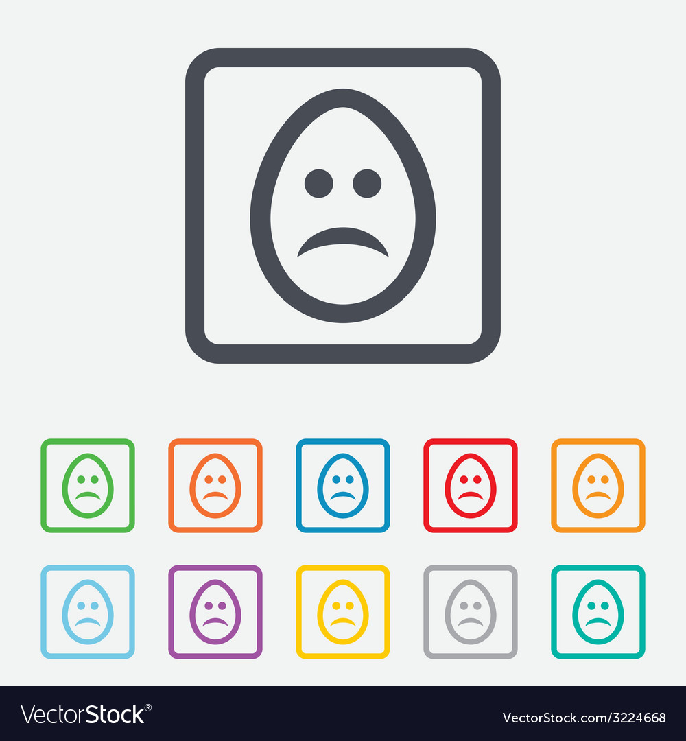 Sad egg face sign icon sadness symbol vector | Price: 1 Credit (USD $1)