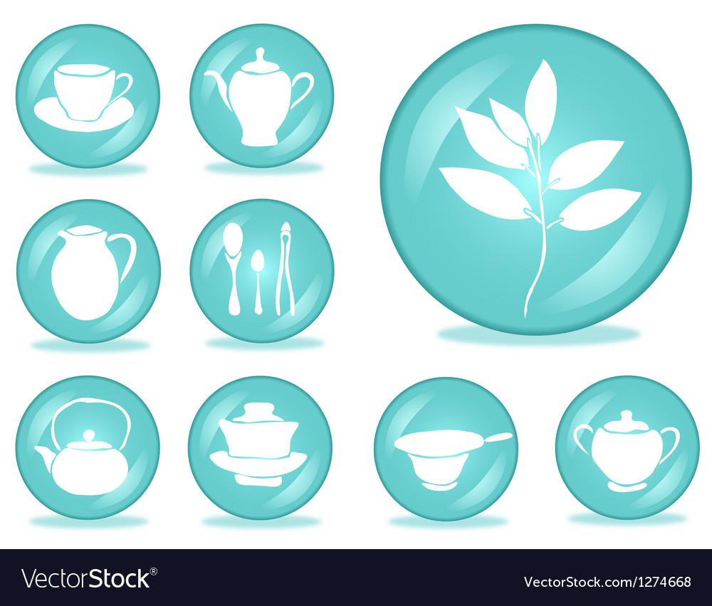 Set of tea accessories vector