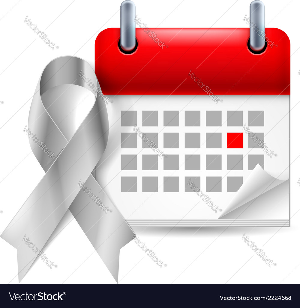 Silver awareness ribbon and calendar vector | Price: 1 Credit (USD $1)