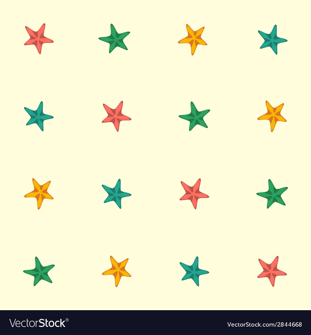 Starfishes seamless pattern vector | Price: 1 Credit (USD $1)