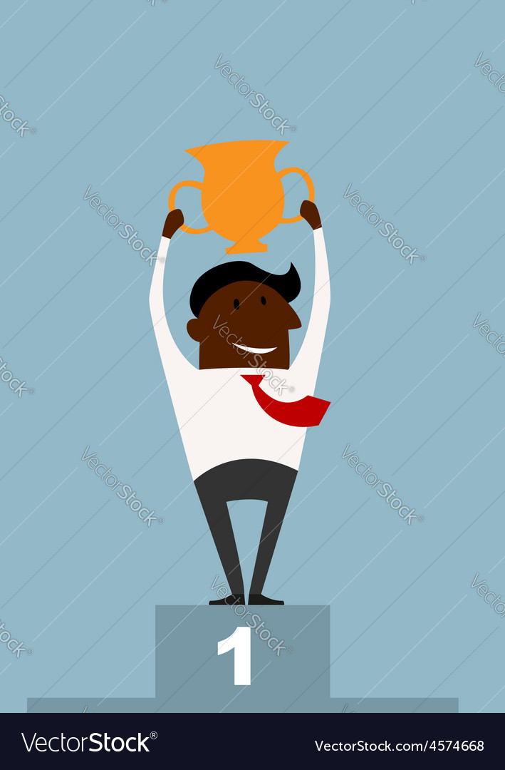 Winner black businessman raising a trophy vector | Price: 1 Credit (USD $1)