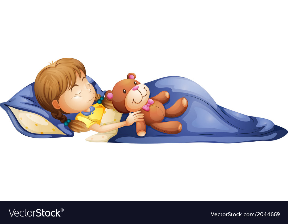 A young girl sleeping with a toy vector | Price: 1 Credit (USD $1)