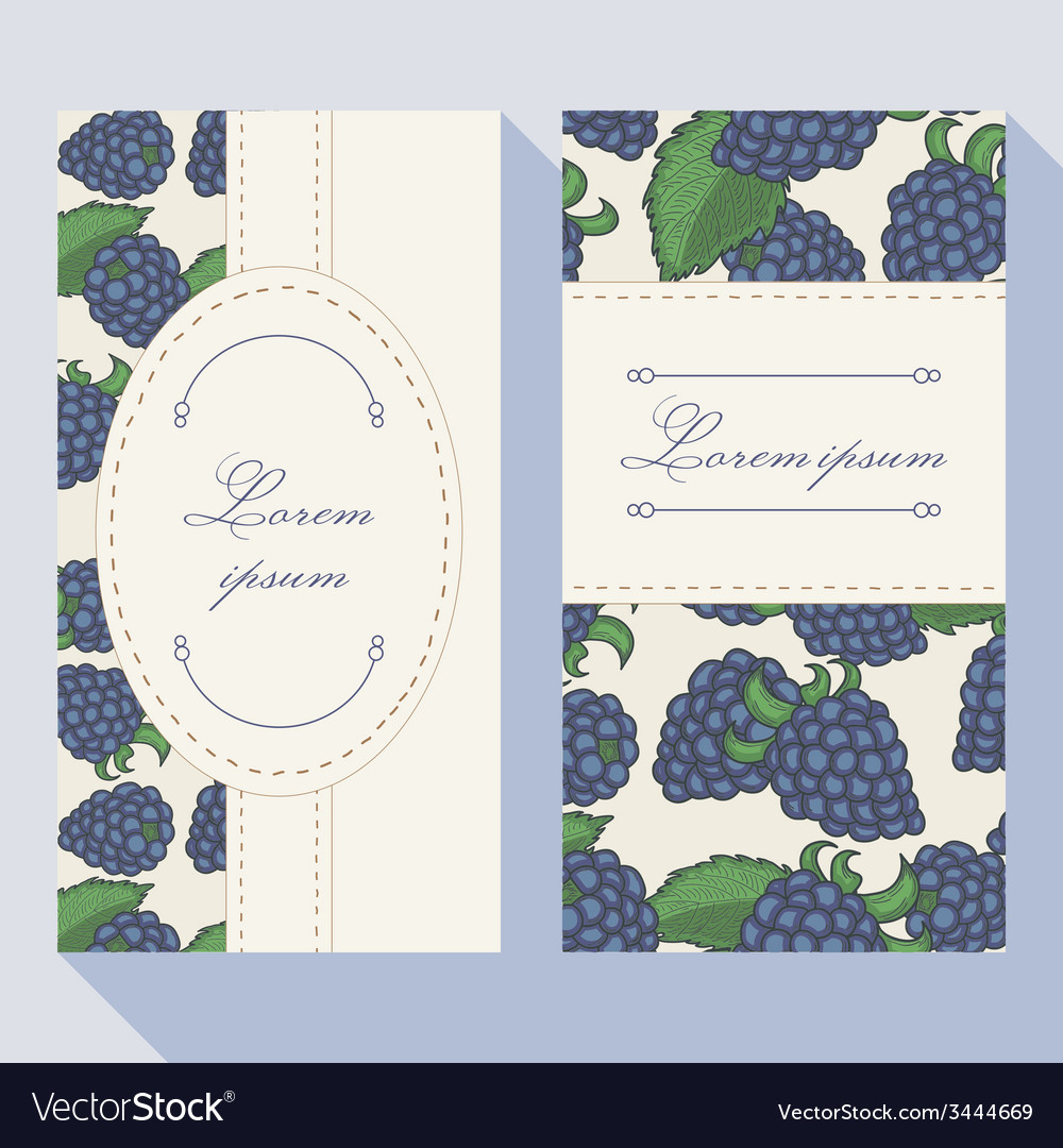 Business card set with blackberryes with doodle fr vector   Price: 1 Credit (USD $1)