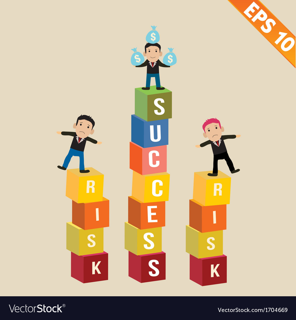 Cartoon businessman stand on risk block - - vector | Price: 1 Credit (USD $1)