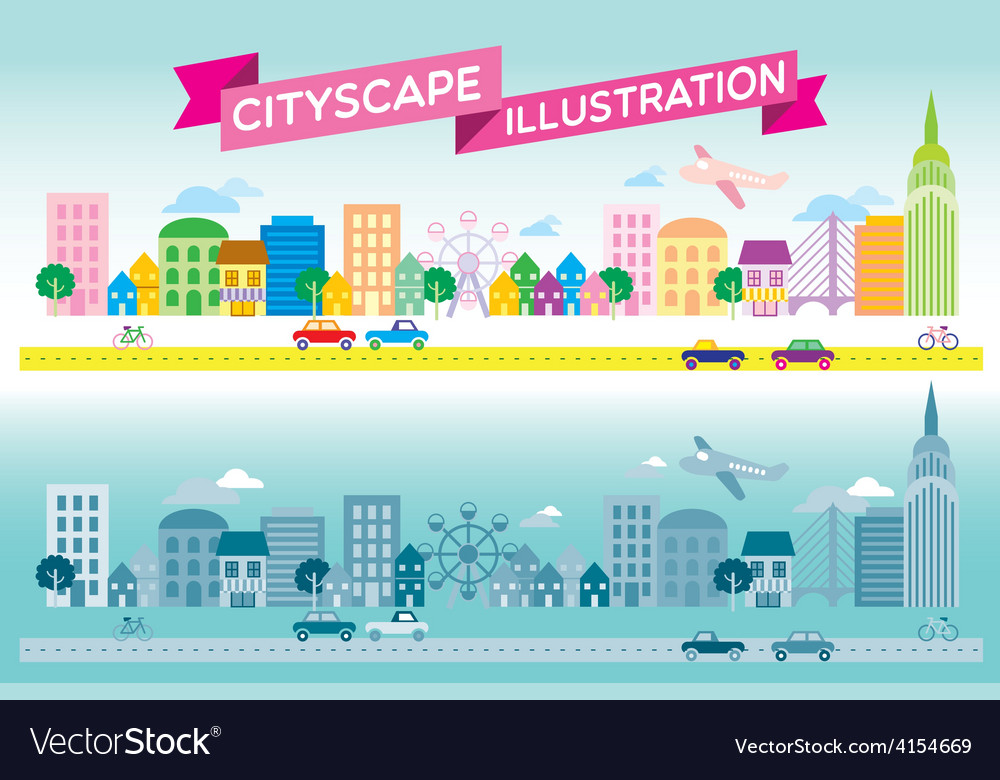 Colorful and monotone cityscape icon flat style ve vector | Price: 1 Credit (USD $1)