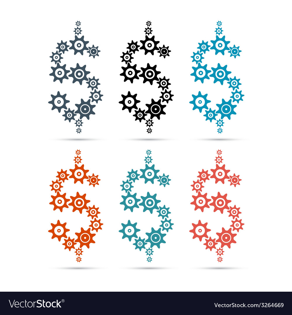 Dollar symbol - sign made from cogs - gears vector   Price: 1 Credit (USD $1)