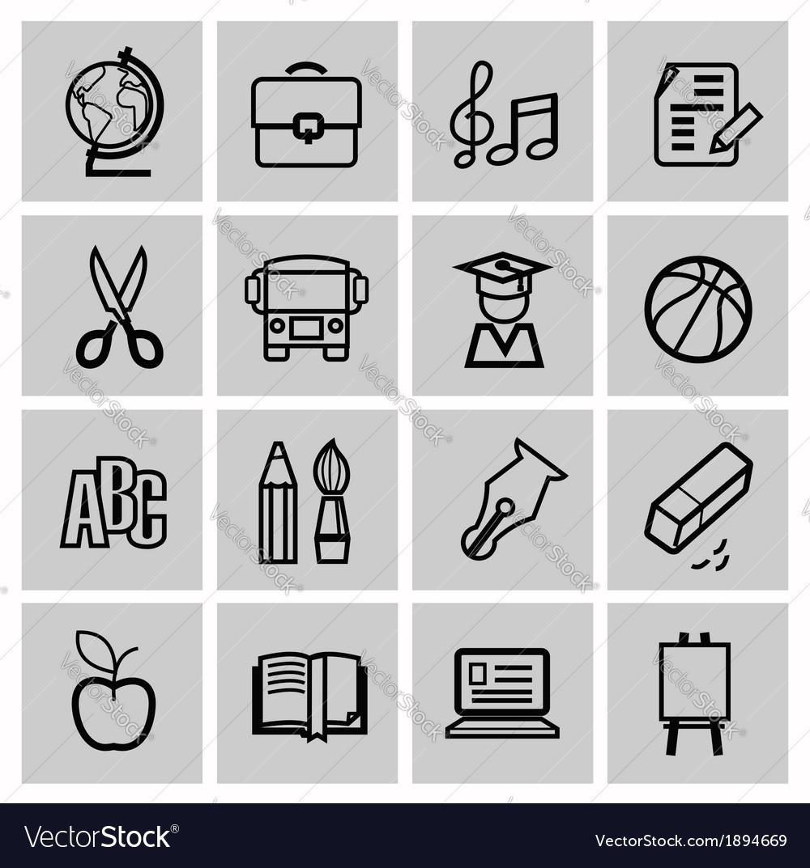 Icons set school vector | Price: 1 Credit (USD $1)