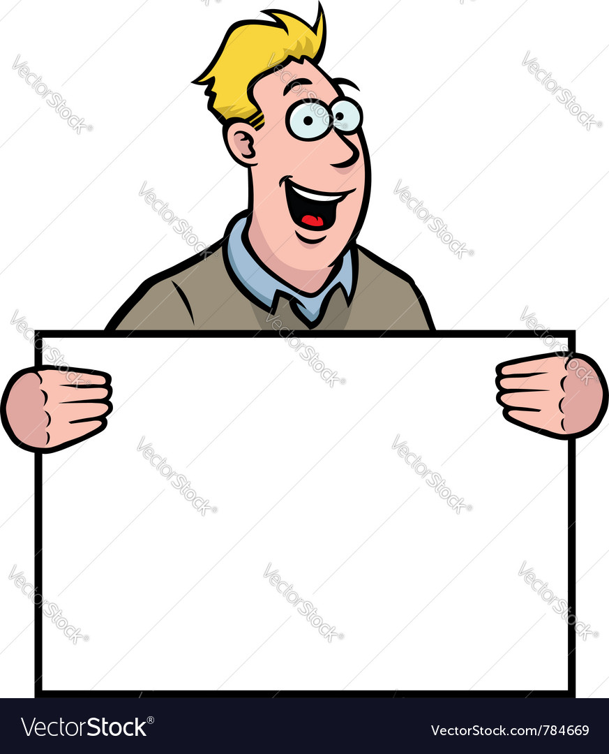 Man holding a sign vector | Price: 1 Credit (USD $1)