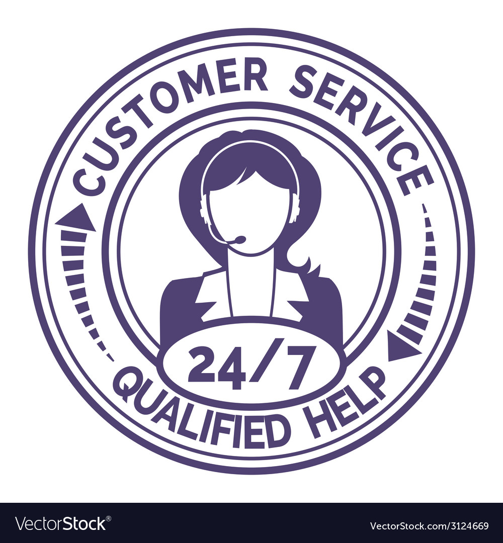 Round icon for non stop customer service on white vector | Price: 1 Credit (USD $1)