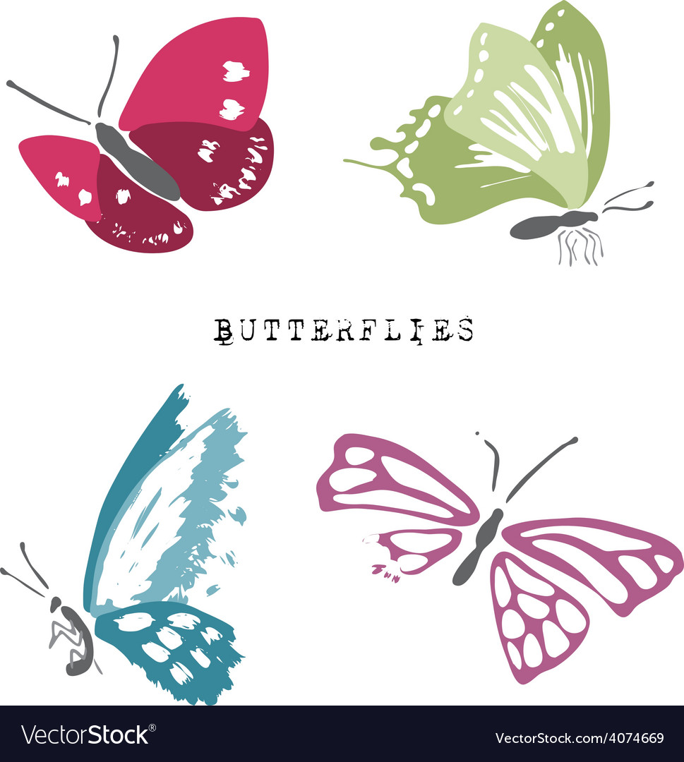 Set of dead and alive butterflies vector | Price: 1 Credit (USD $1)
