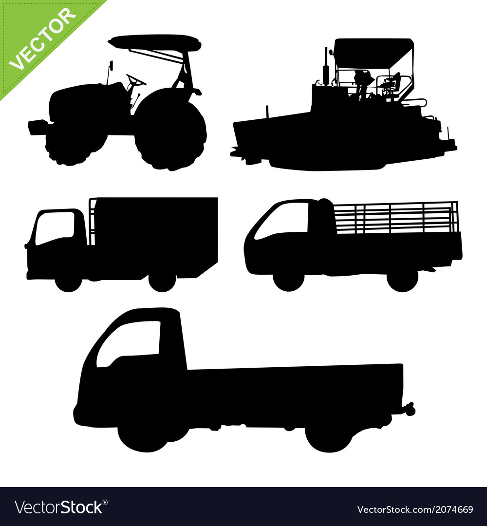 Truck and tractor silhouettes vector | Price: 1 Credit (USD $1)