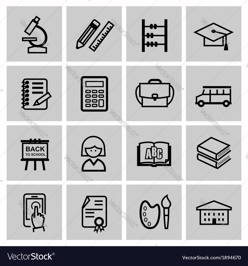 Black higher education icons vector | Price: 1 Credit (USD $1)