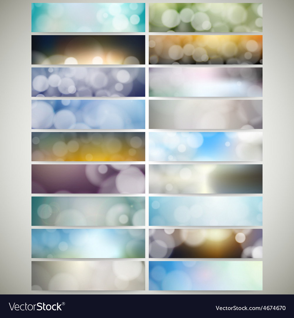 Blurry backgrounds set with bokeh effect web vector | Price: 1 Credit (USD $1)