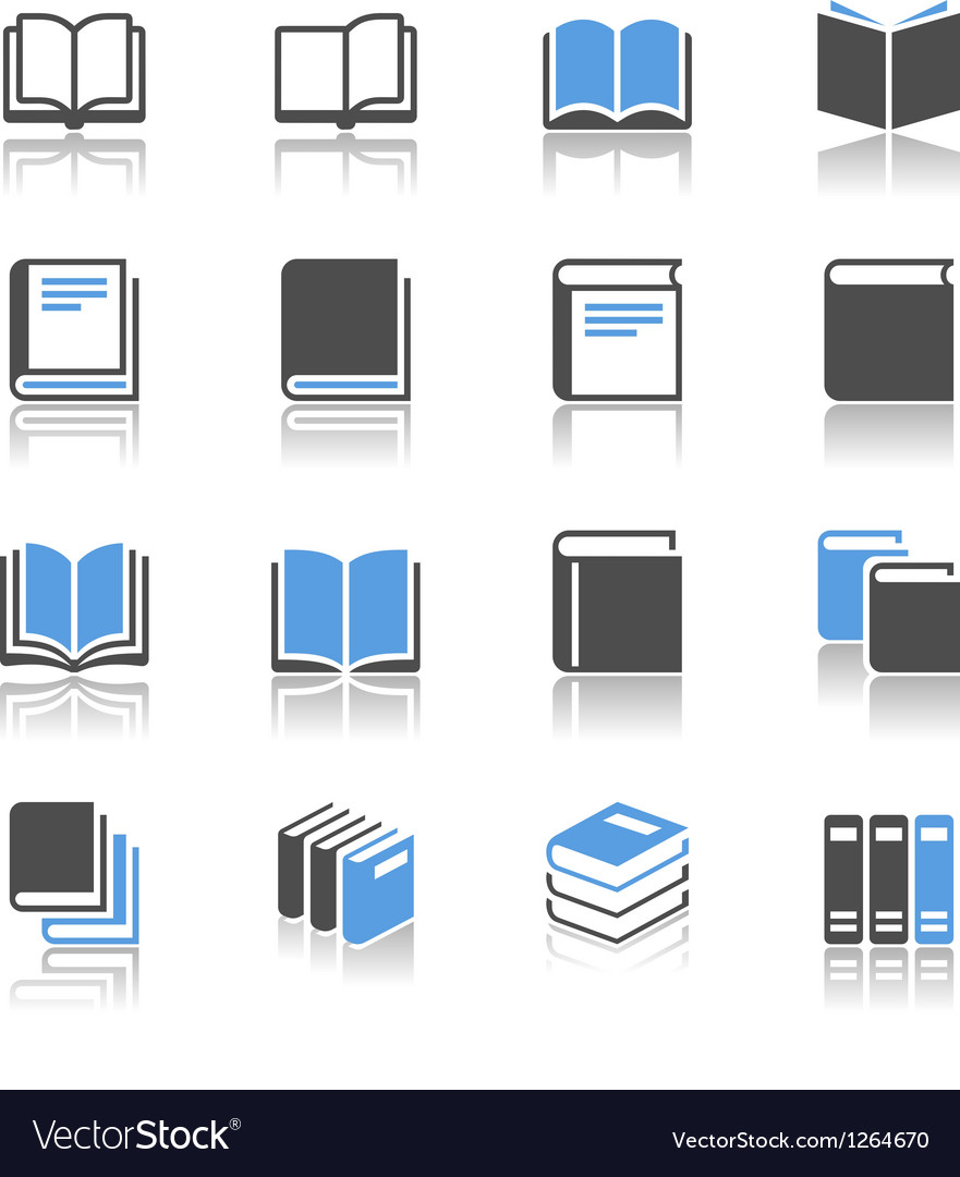 Book icons reflection vector | Price: 1 Credit (USD $1)
