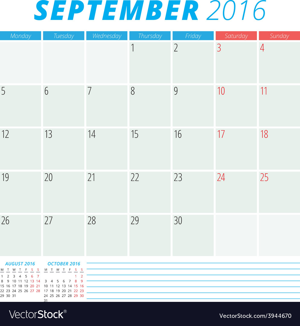 Calendar 2016 flat design template september week vector   Price: 1 Credit (USD $1)