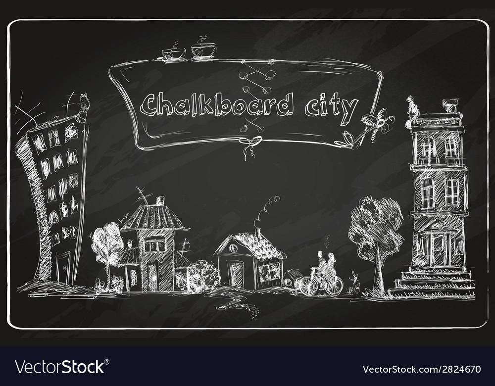 Chalkboard city doodle vector | Price: 1 Credit (USD $1)
