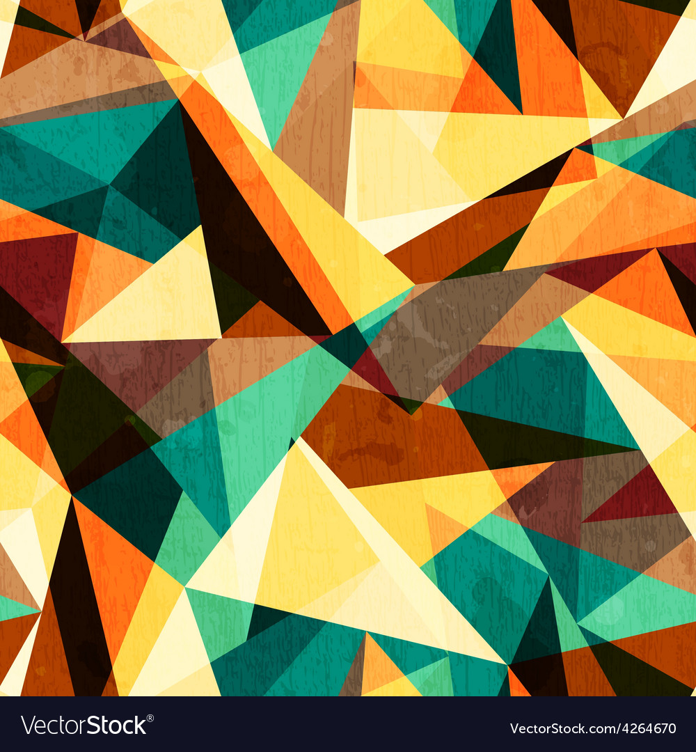 Colored triangle seamless texture with wood effect vector | Price: 1 Credit (USD $1)