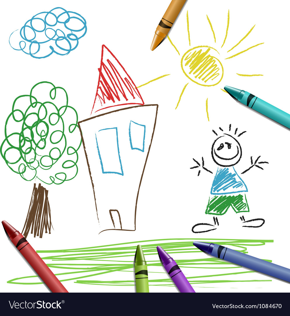 Crayon set with kid drawing vector | Price: 1 Credit (USD $1)