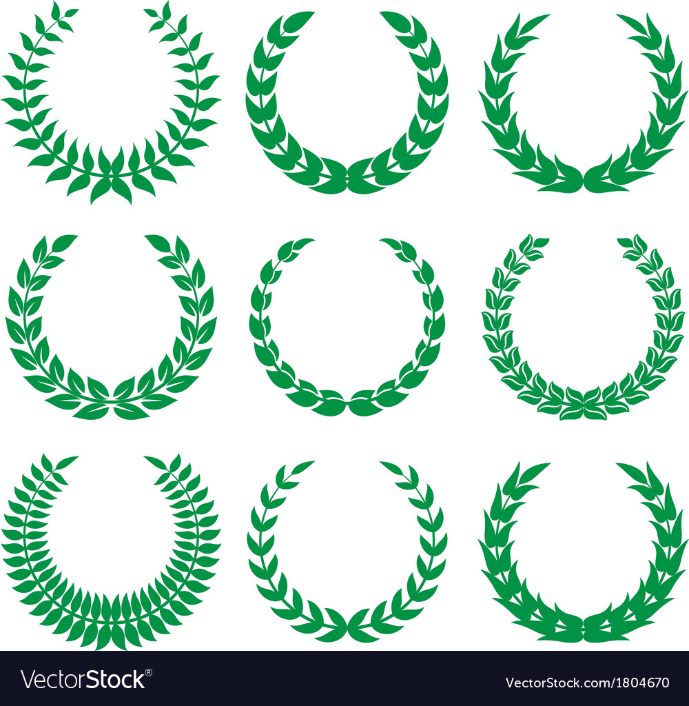 Green laurel wreaths 1 vector | Price: 1 Credit (USD $1)