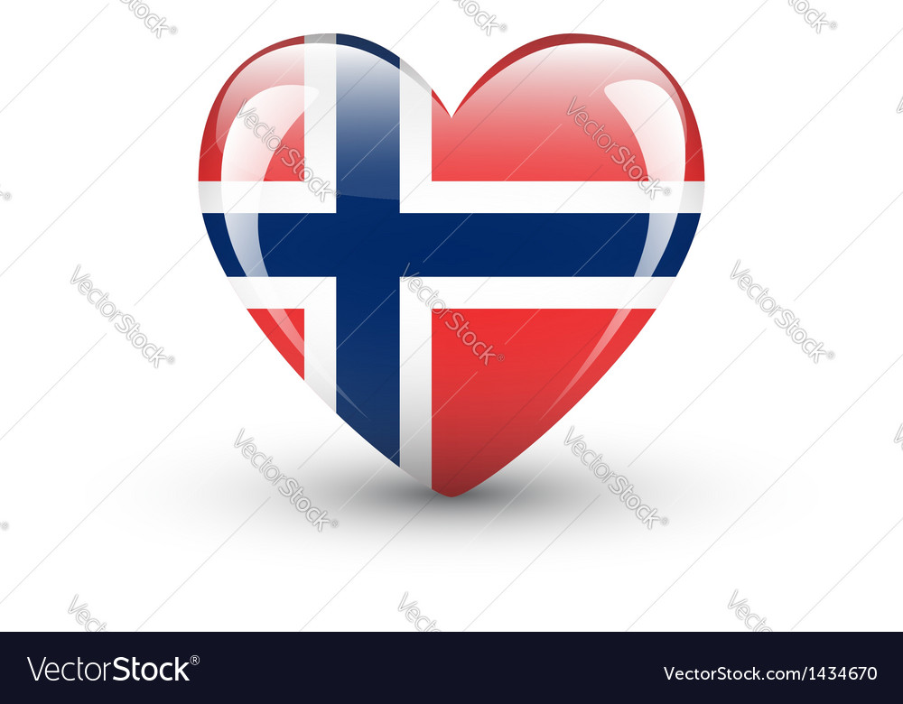 Heart-shaped icon with national flag of norway vector | Price: 1 Credit (USD $1)