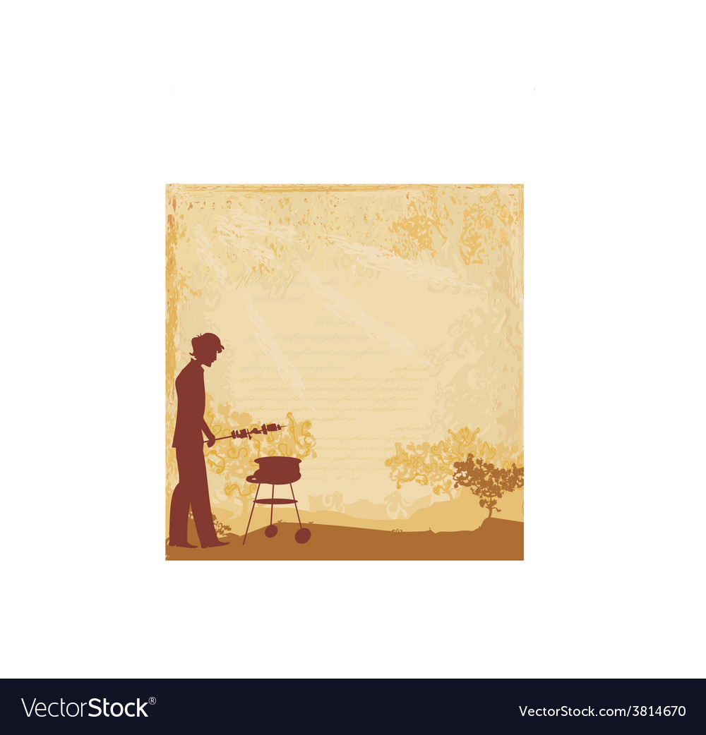 Man silhouette cooking on his barbecue invitation vector | Price: 1 Credit (USD $1)