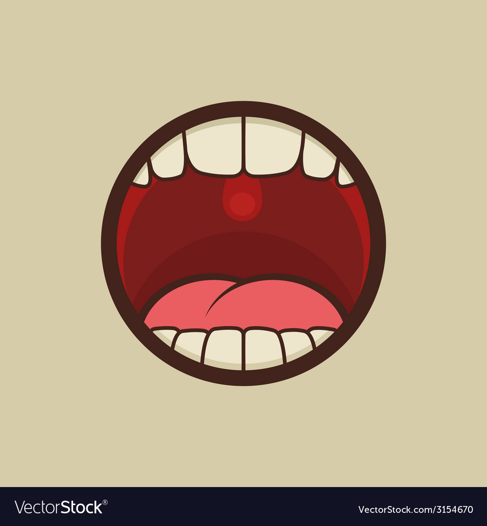 Open mouth with teeth and tongue vector | Price: 1 Credit (USD $1)