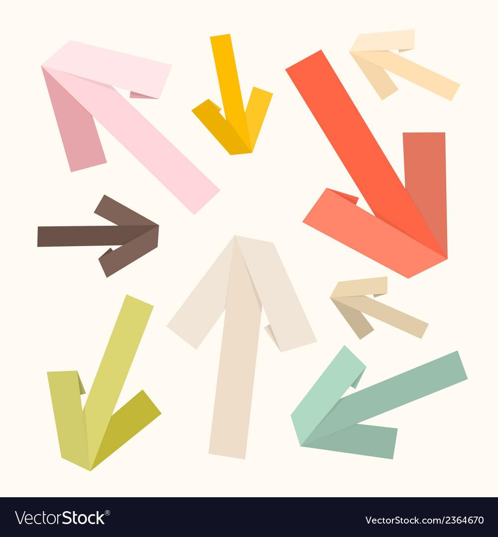 Paper arrows set in retro colors vector | Price: 1 Credit (USD $1)