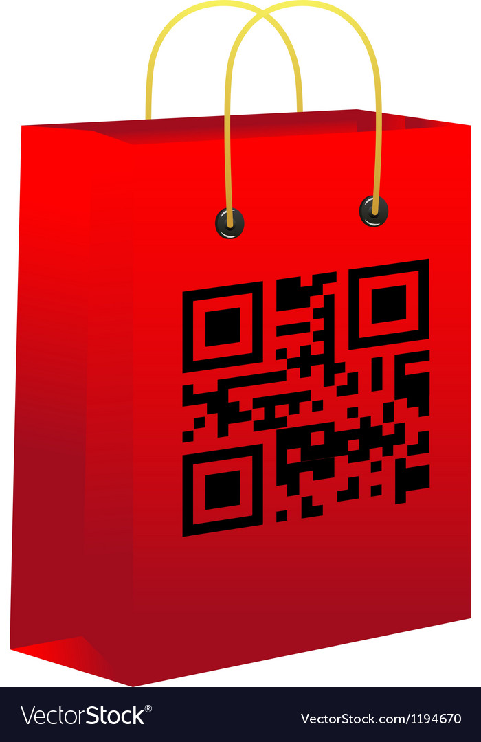 Red shopping bar with qr code vector | Price: 1 Credit (USD $1)