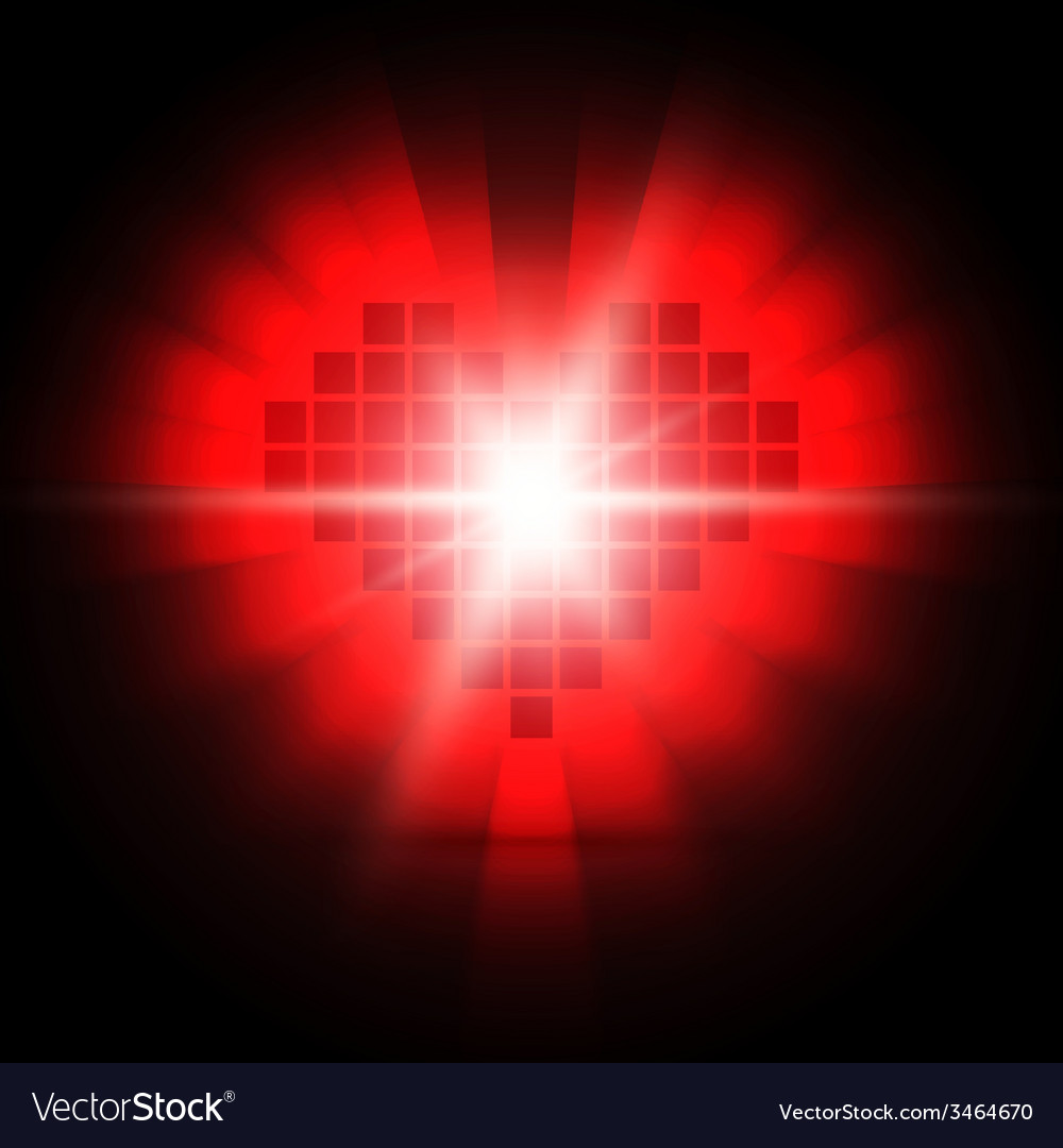 Shining pixel heart for valentines day designs vector | Price: 1 Credit (USD $1)