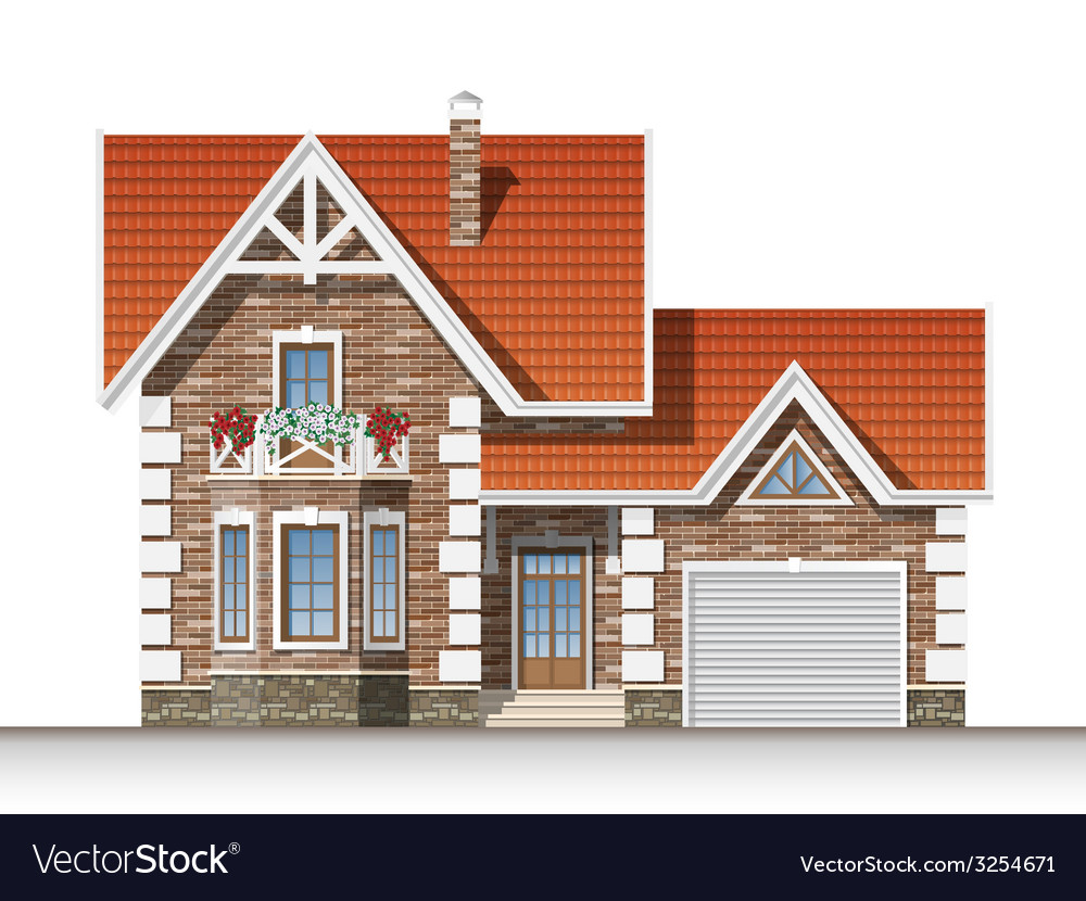 Beautiful brick house vector | Price: 3 Credit (USD $3)