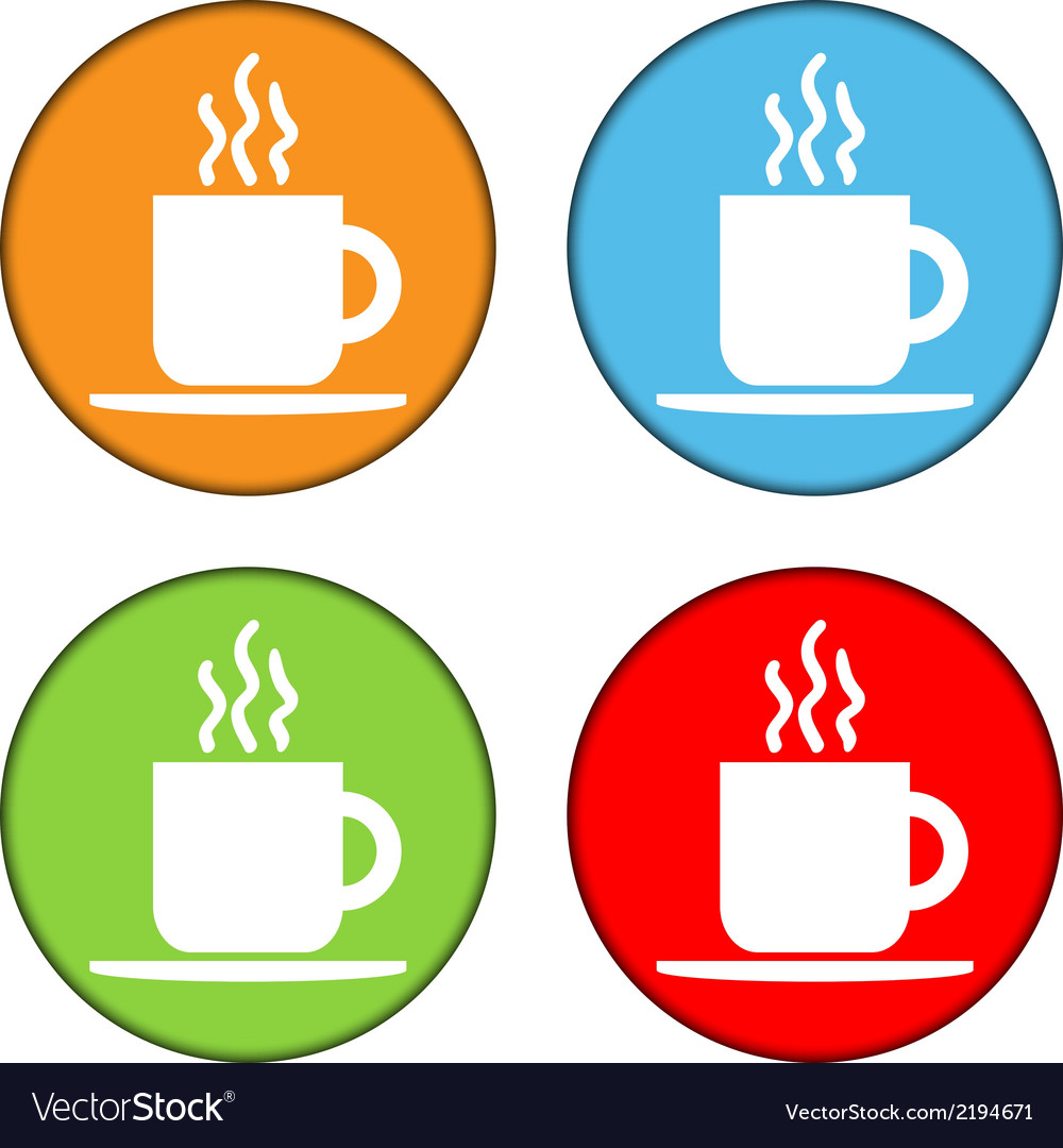 Coffee button set vector | Price: 1 Credit (USD $1)