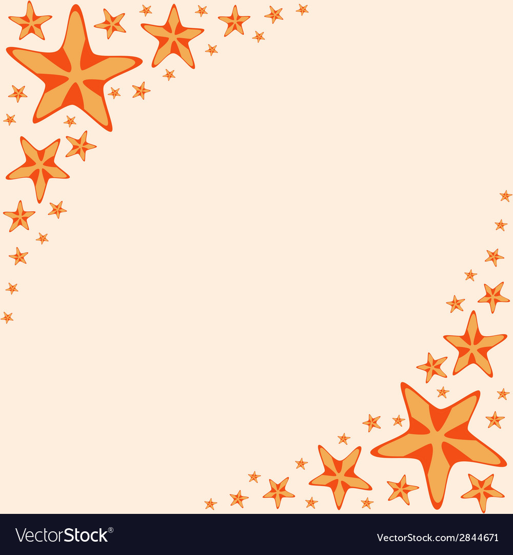 Decorative frame with orange cartoon starfishes vector | Price: 1 Credit (USD $1)