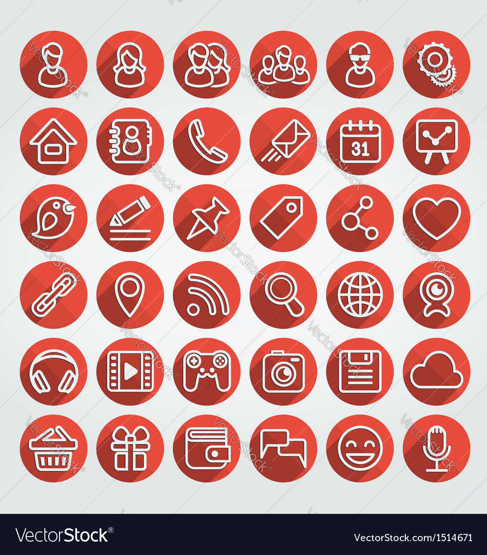 Flat icons social media round red set vector | Price: 1 Credit (USD $1)