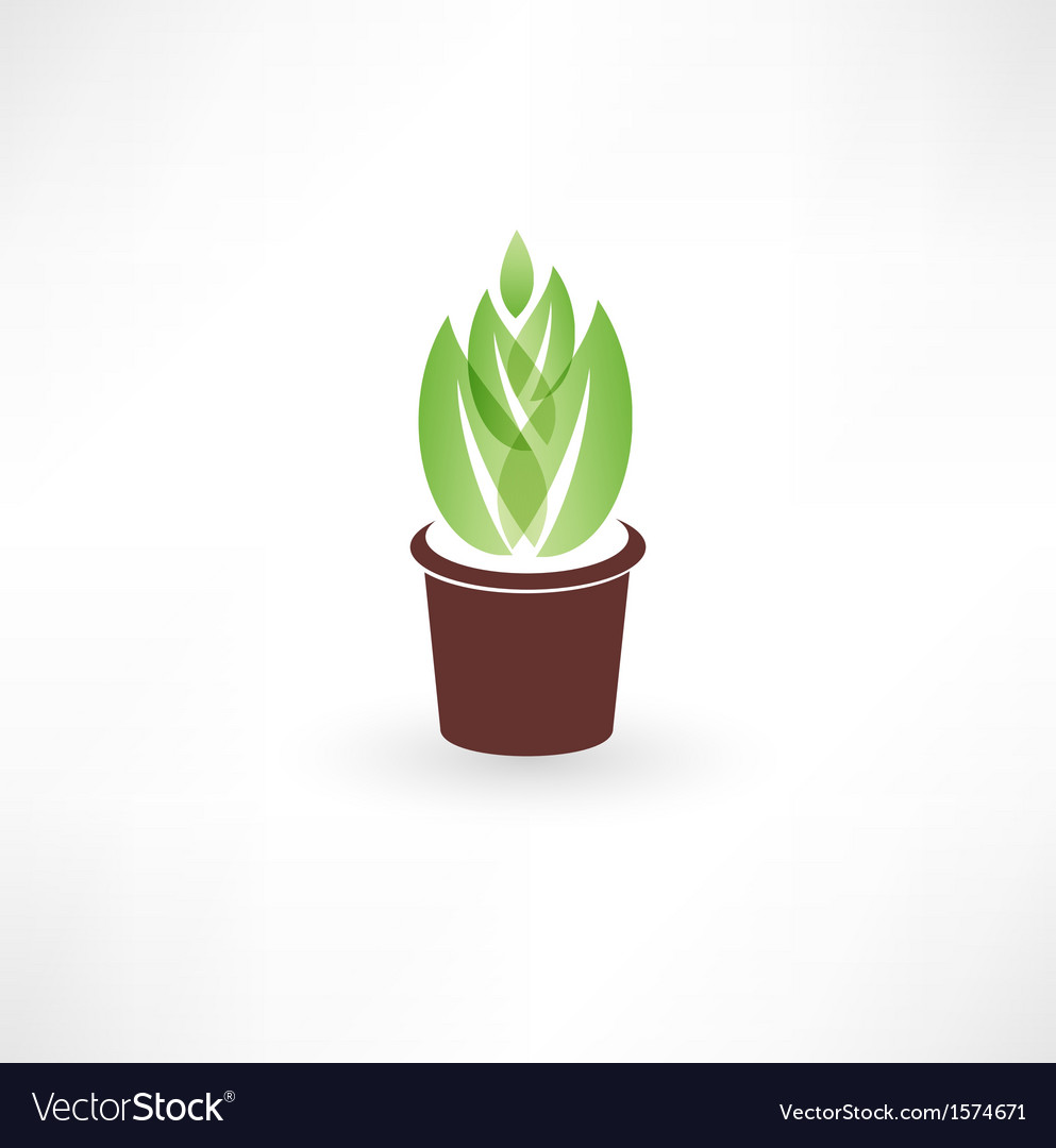 Flower in a pot icon vector | Price: 1 Credit (USD $1)