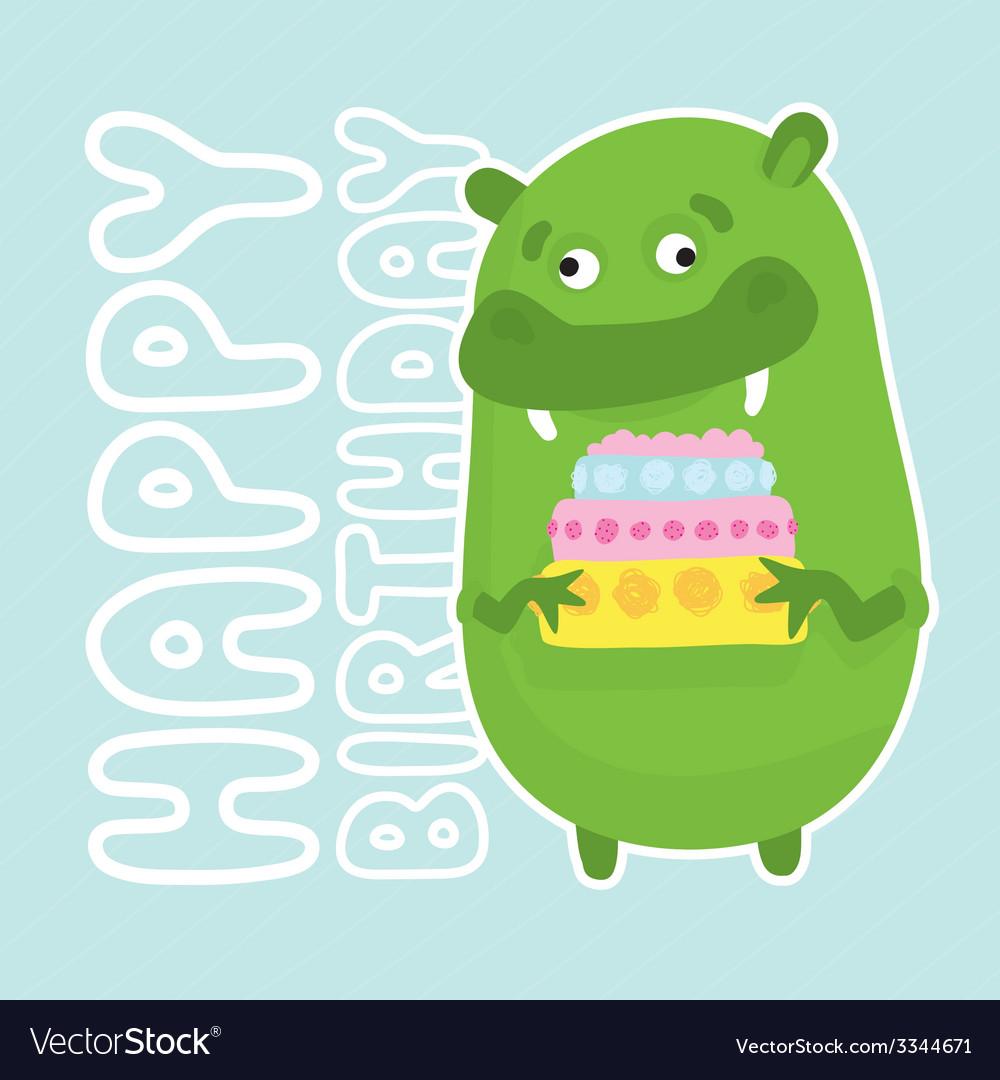Green birthday monster vector | Price: 1 Credit (USD $1)