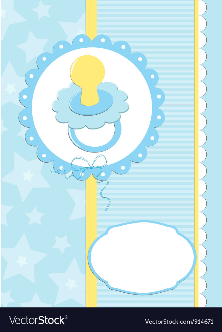 Greetings card or postcard with babys dummy vector | Price: 1 Credit (USD $1)